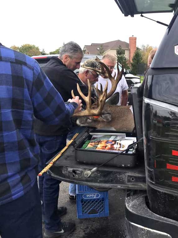 whitetail buck on truck bed getting scored