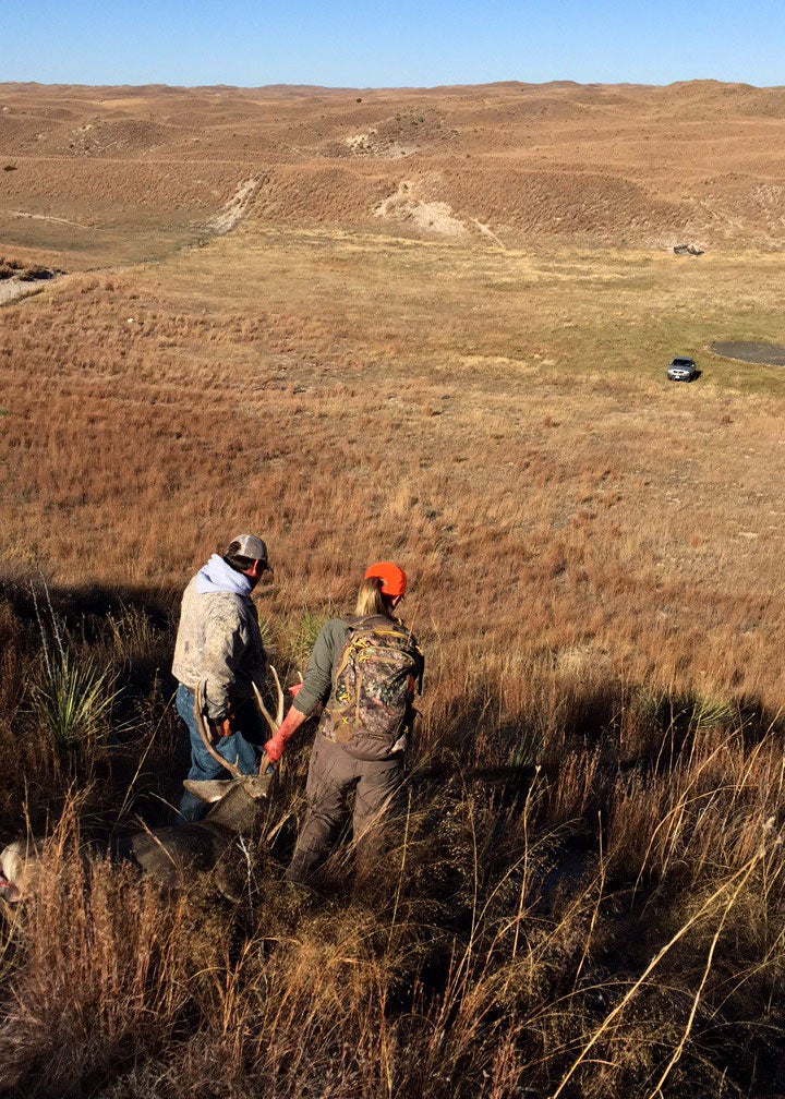 dragging mule deer downhill