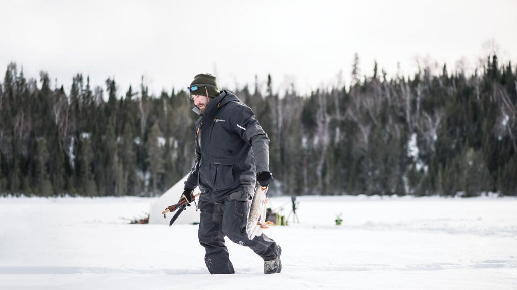 lukas leaf trekking across snow and ice