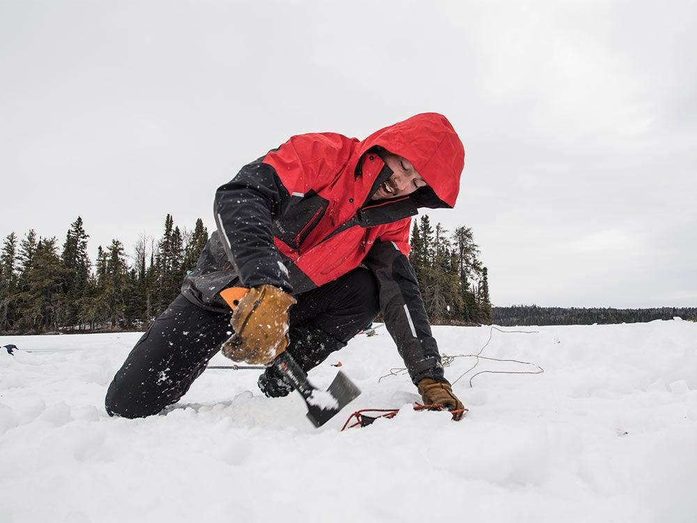 angler excavating trekking pole