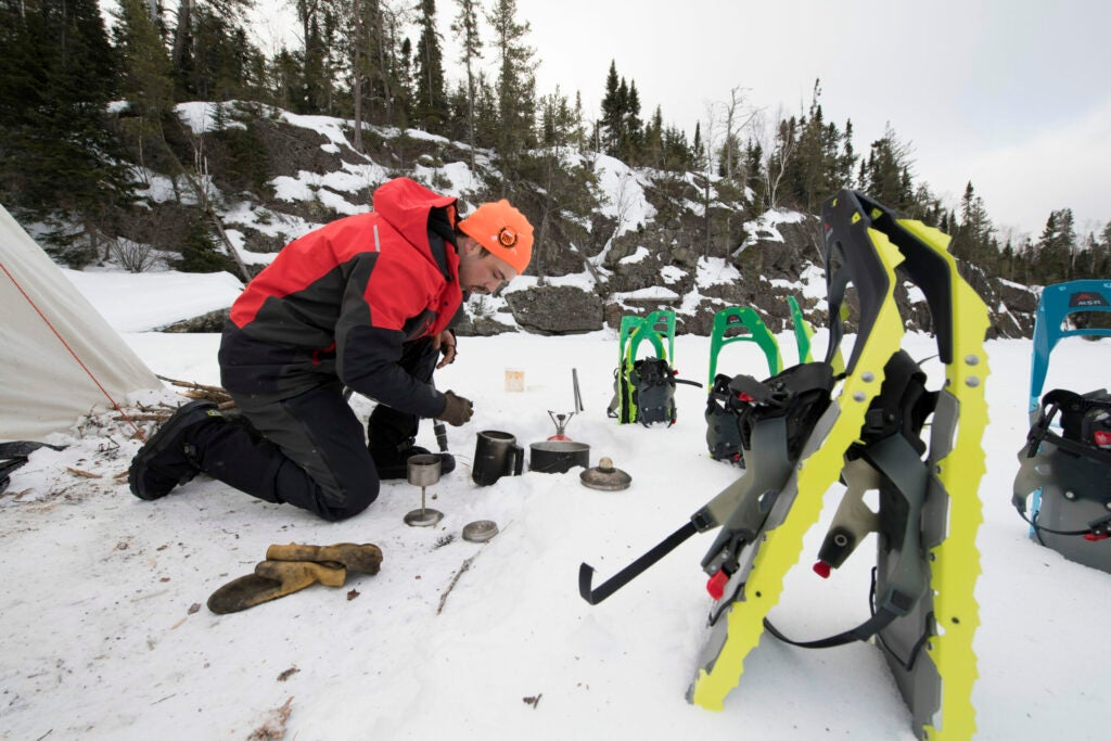 snow camping with snow shoes