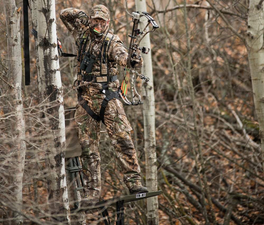 A bow hunter in the perfect position to take a smart shot.