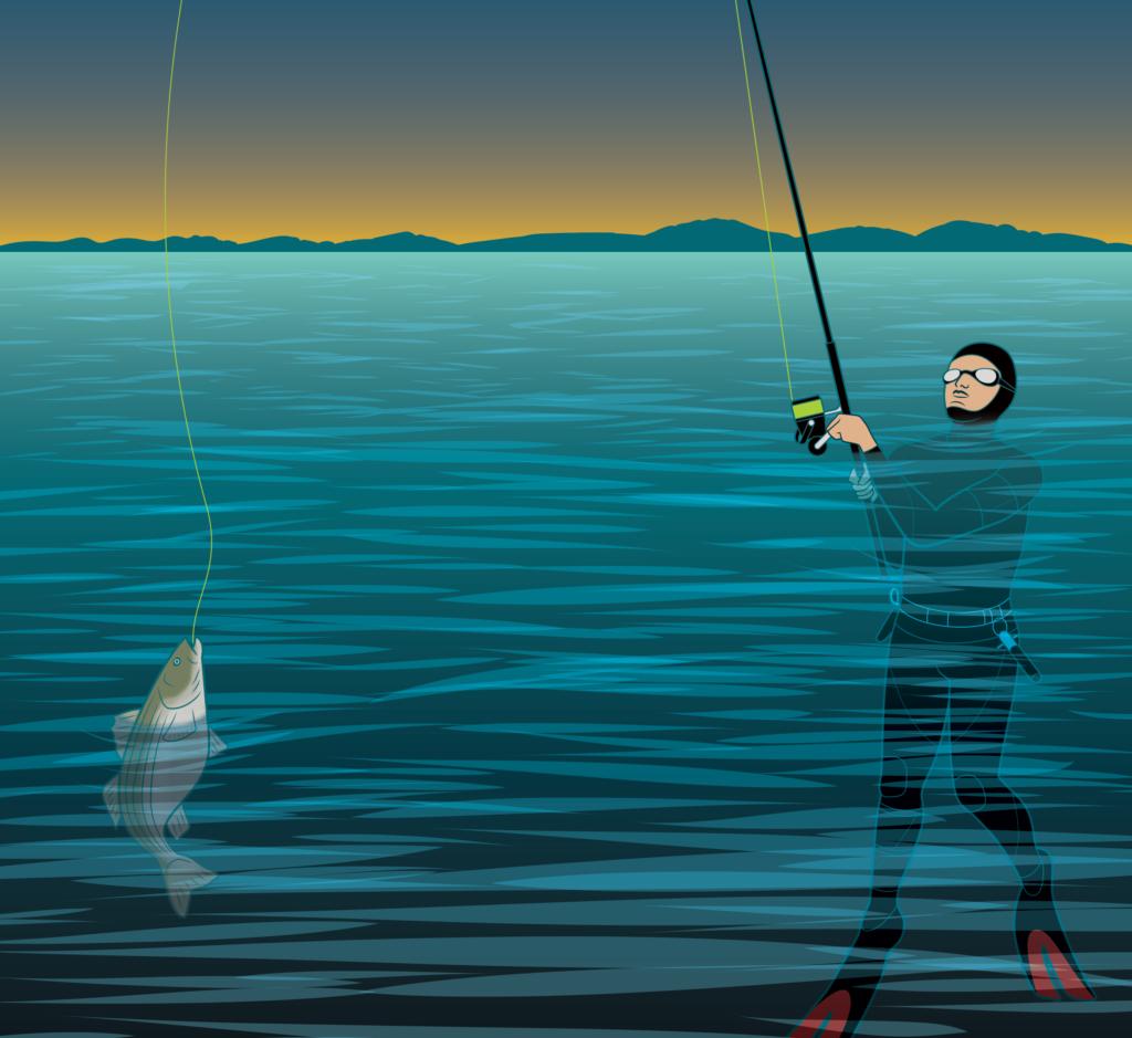skishing, extreme angling, julio silva, striped bass, wetsuit fishing
