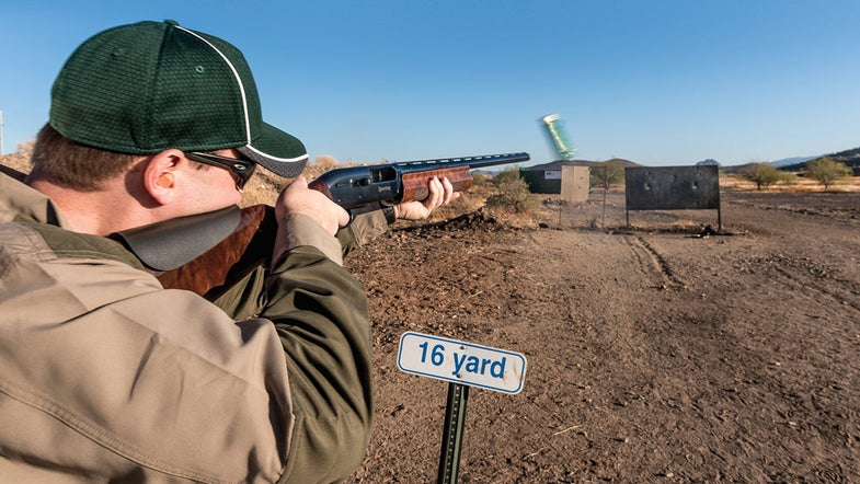 Bird hunter checks shotgun POI after installing cheekpiece