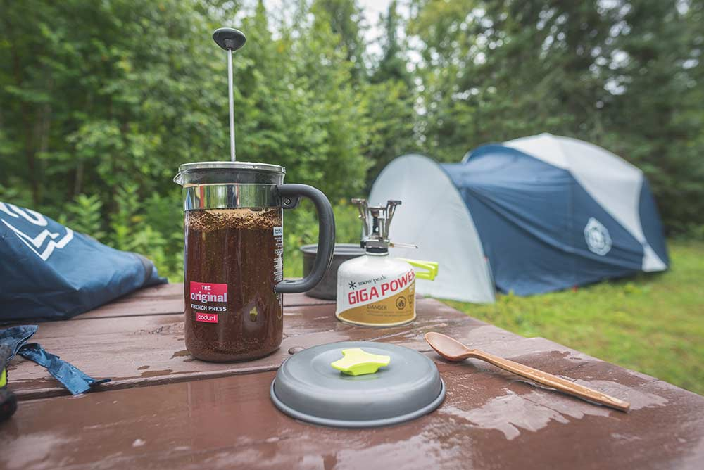 french press coffee camping