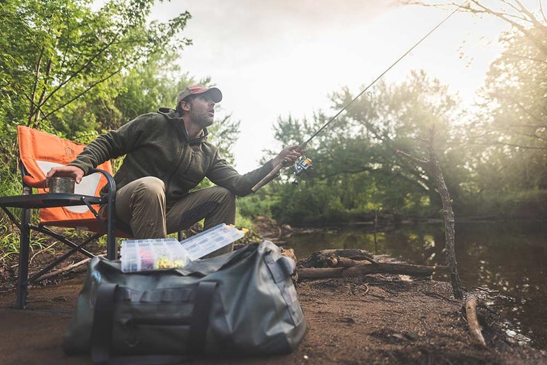 bank fishing with ol guide life chair