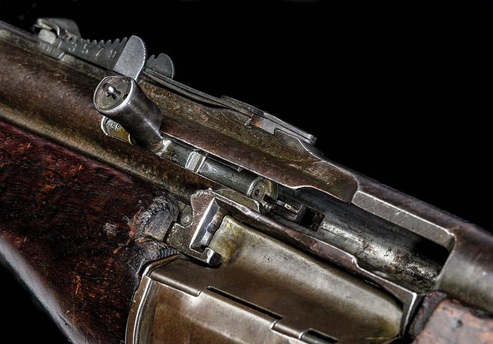 close up of 1941 johnson automatic service rifle bolt