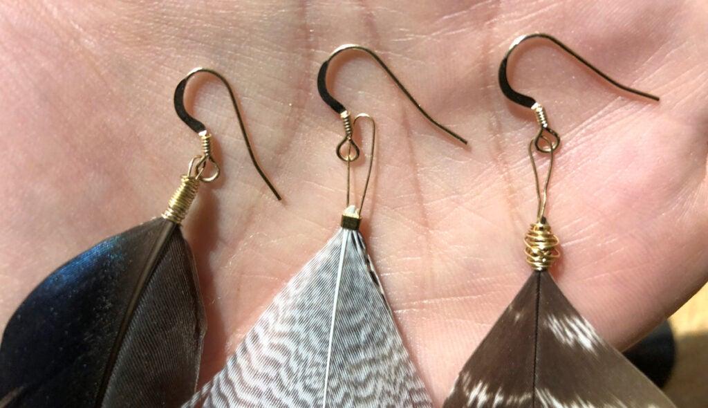 feather earring fastenings