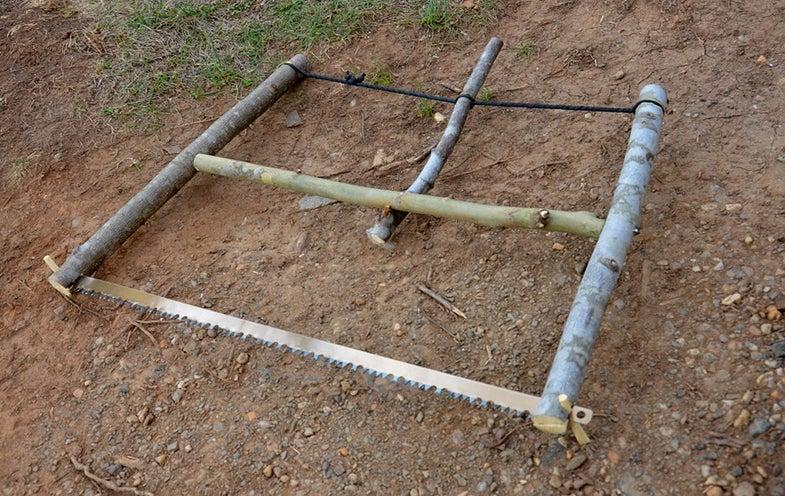 saw frame made with sticks