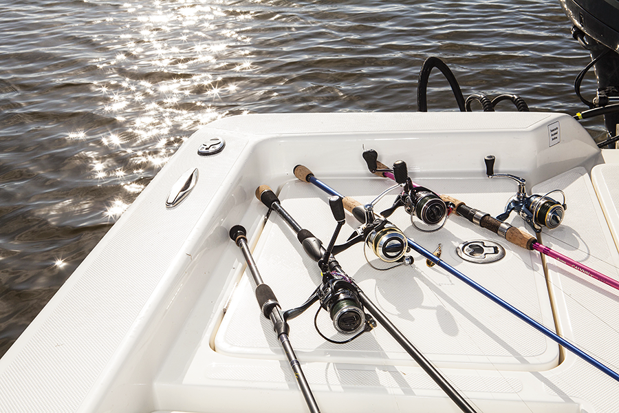rods and reels in the boat