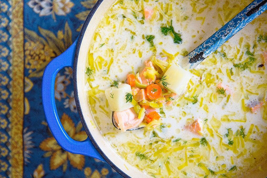 ladling-salmon-soup