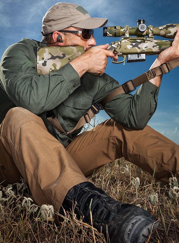 long range shooting seated