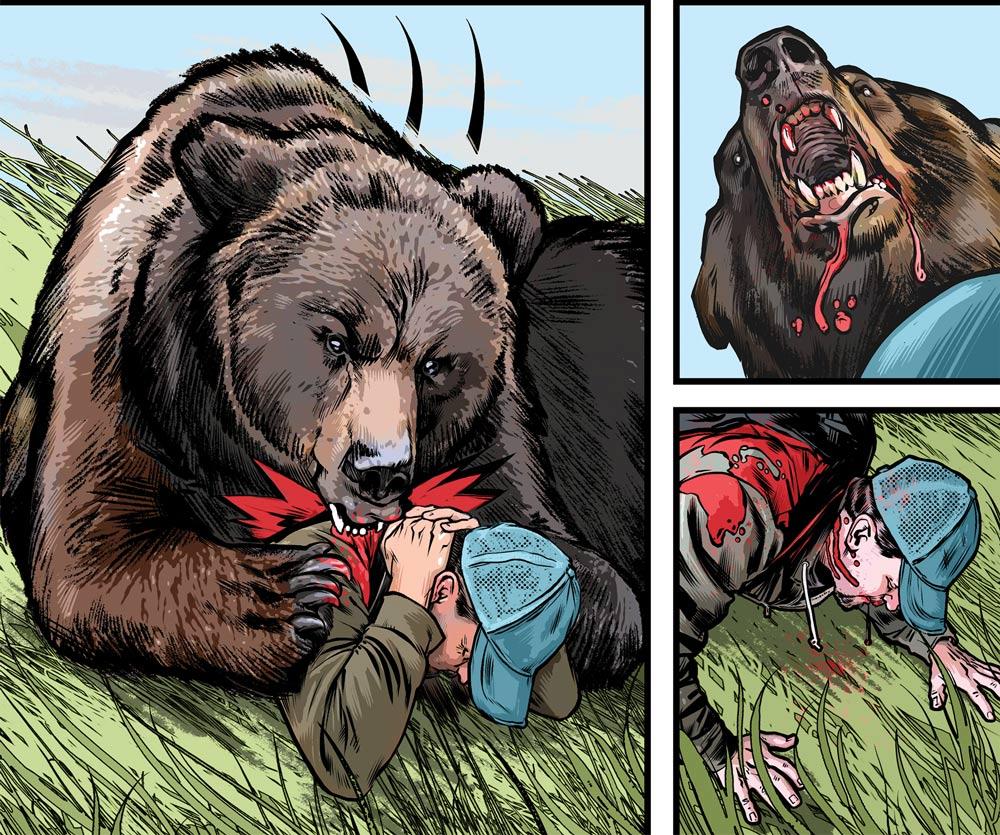 Bear attacking man Illustration
