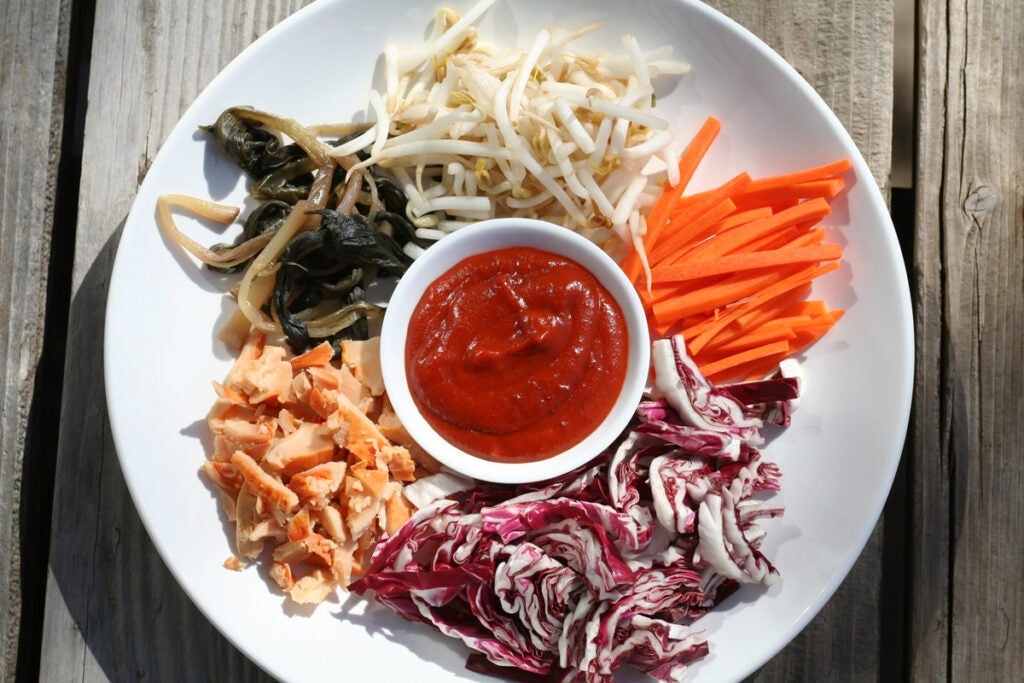 wild bibimbap ingredients vegetables