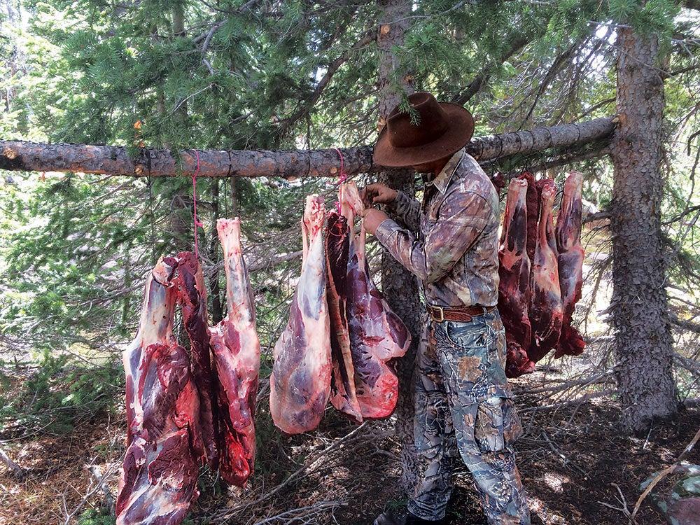 hunter stringing up elk meat