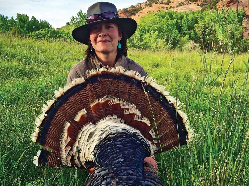 laurel holding hunting turkey