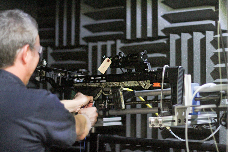 testing a crossbow in an anechoic chamber