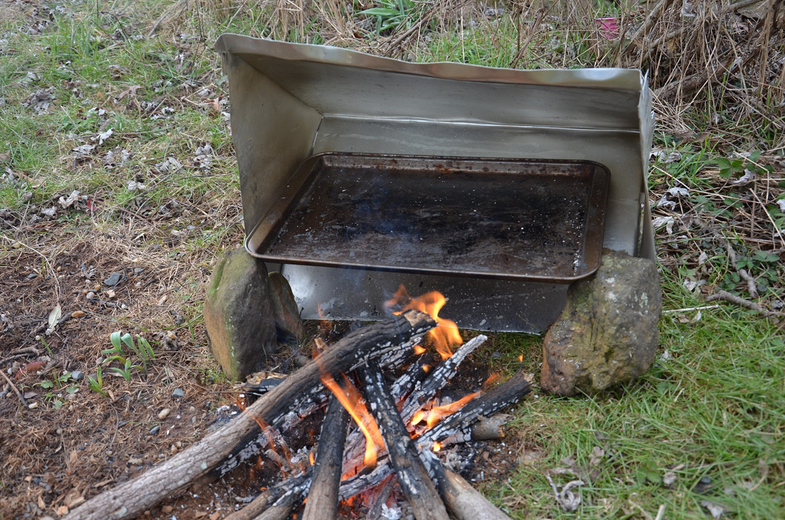 reflector oven by fire