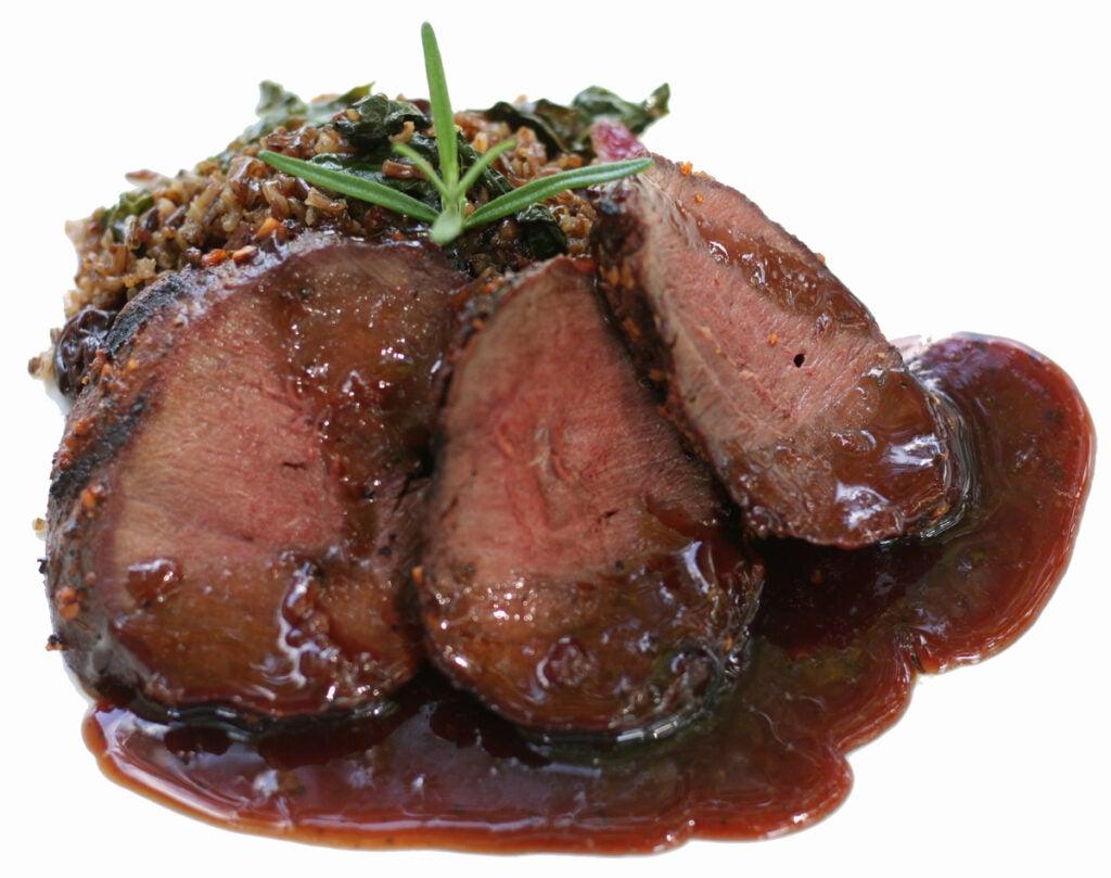 venison backstrap with chokecherry sauce
