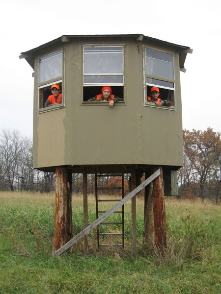 This octagon-shaped deer blind.