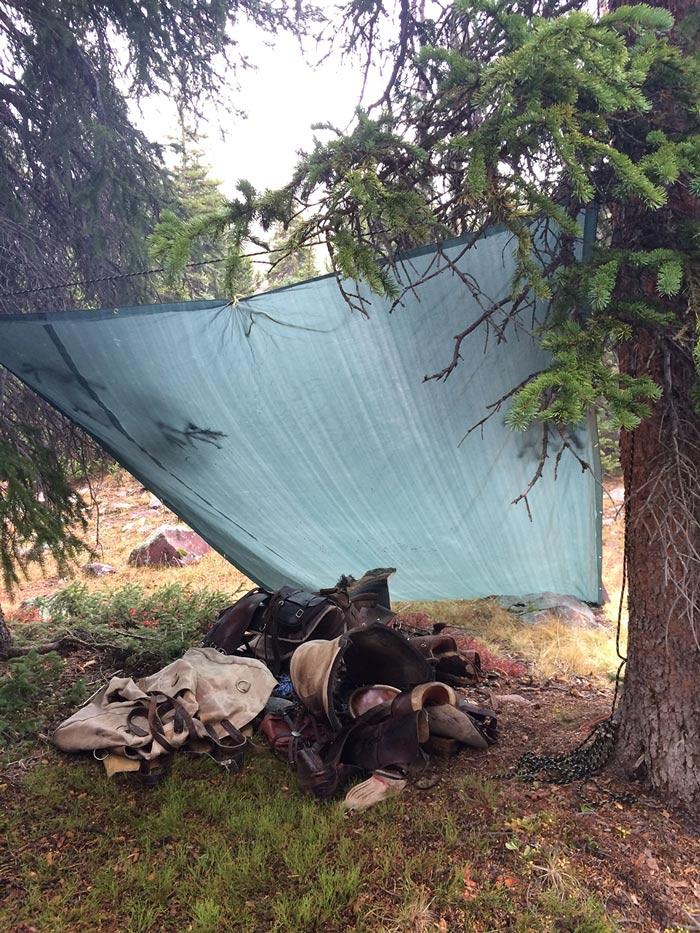 Campsite storage lean-to