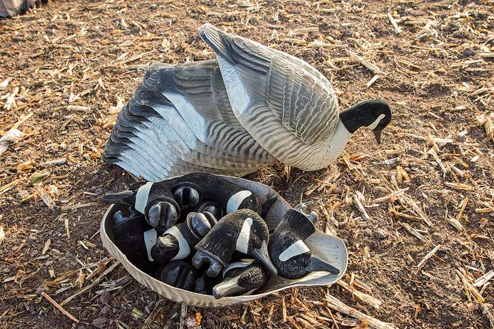 stack of avery shell geese decoys