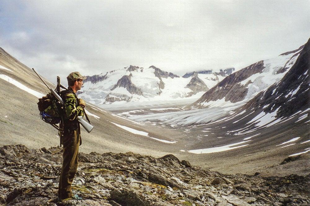 Hunter at glacier fields in Tatshenshini-Alsek Park