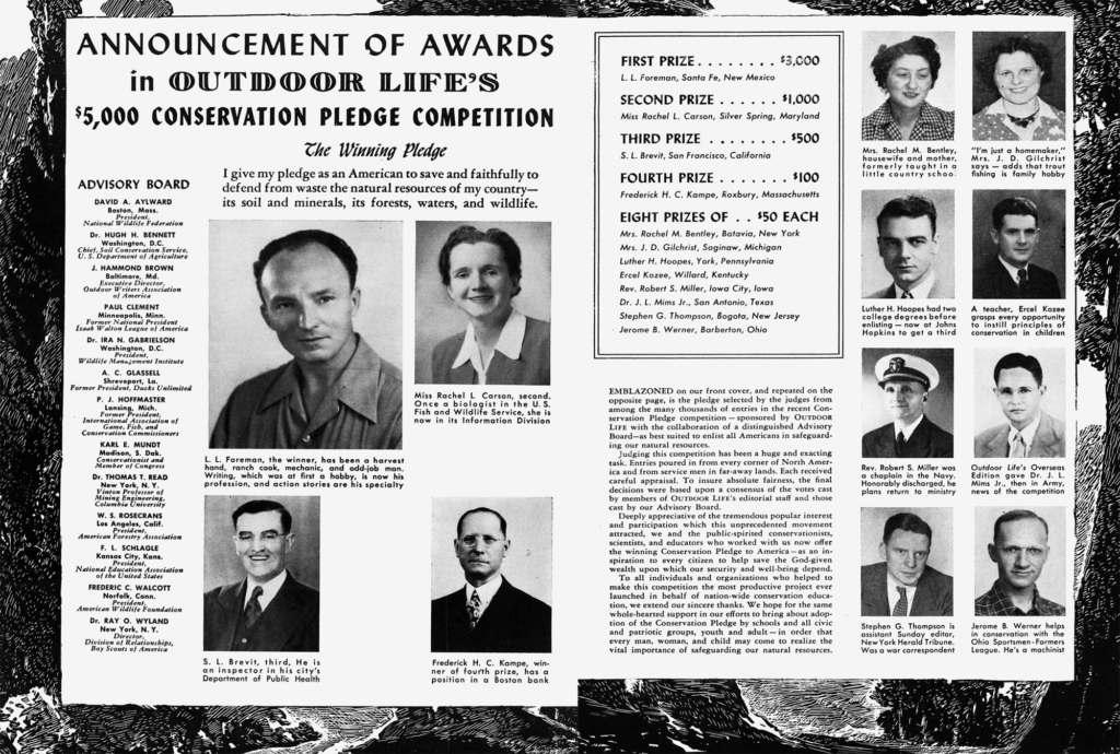 The Outdoor Life conservation pledge contest was announced in 1946 with the goal of conserving the nation's resources.