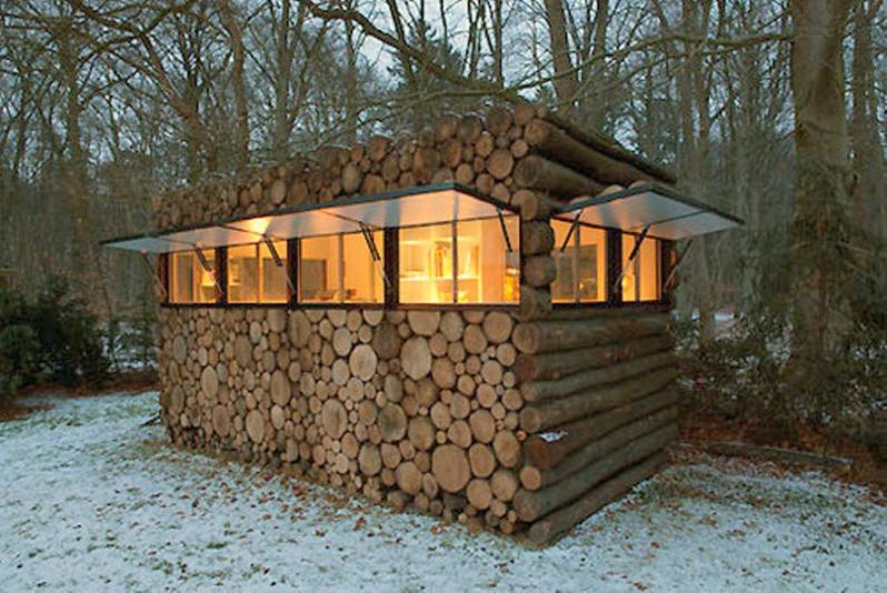 A wood blind with sliding windows.