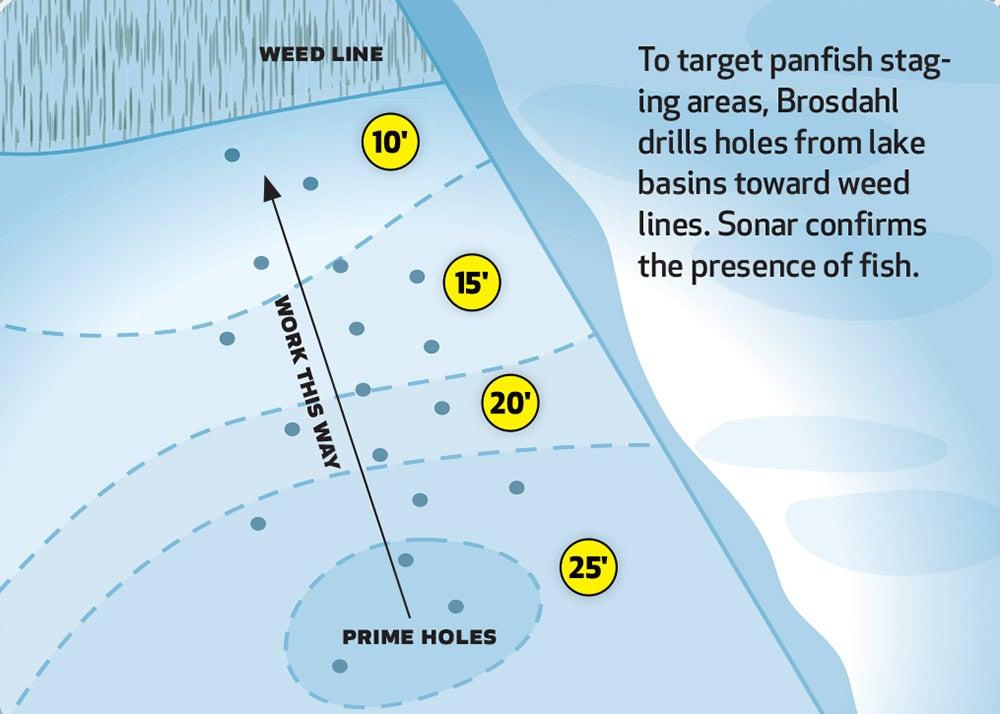 Target panfish staging areas illustration