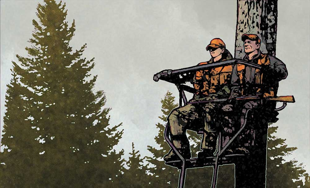 illustration of hunters in a stand