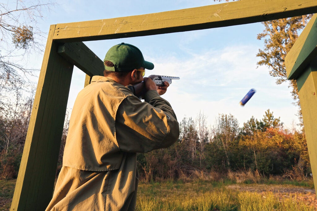 shooting doubles at the clay range for duck hunting