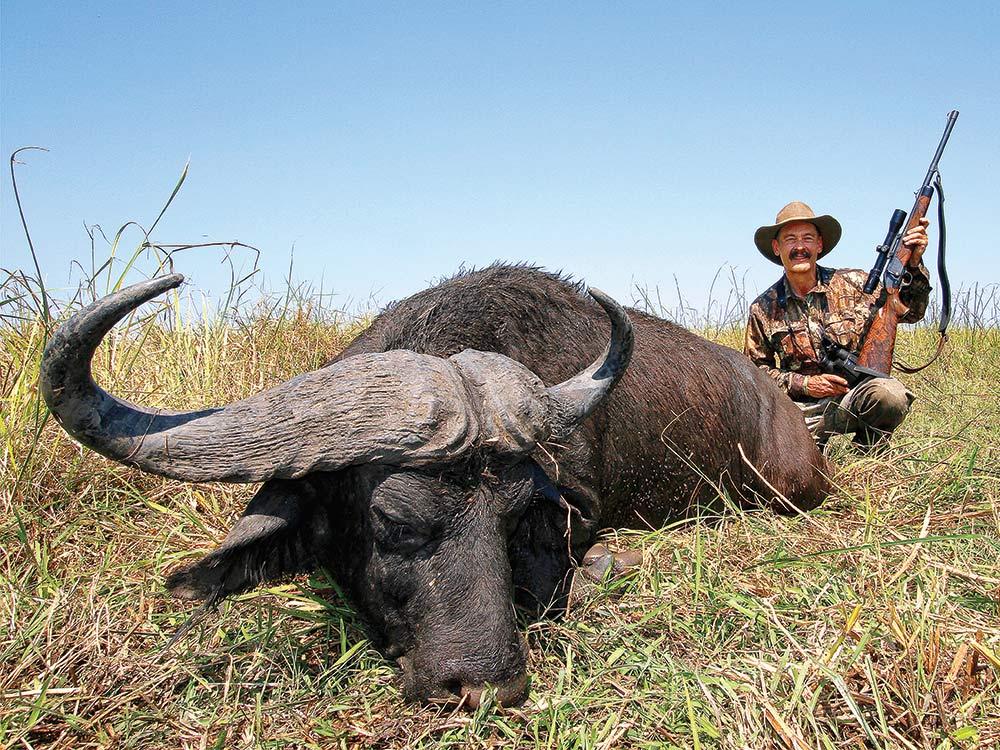 Ron Spomer downed a Cape buffalo in Mozambique