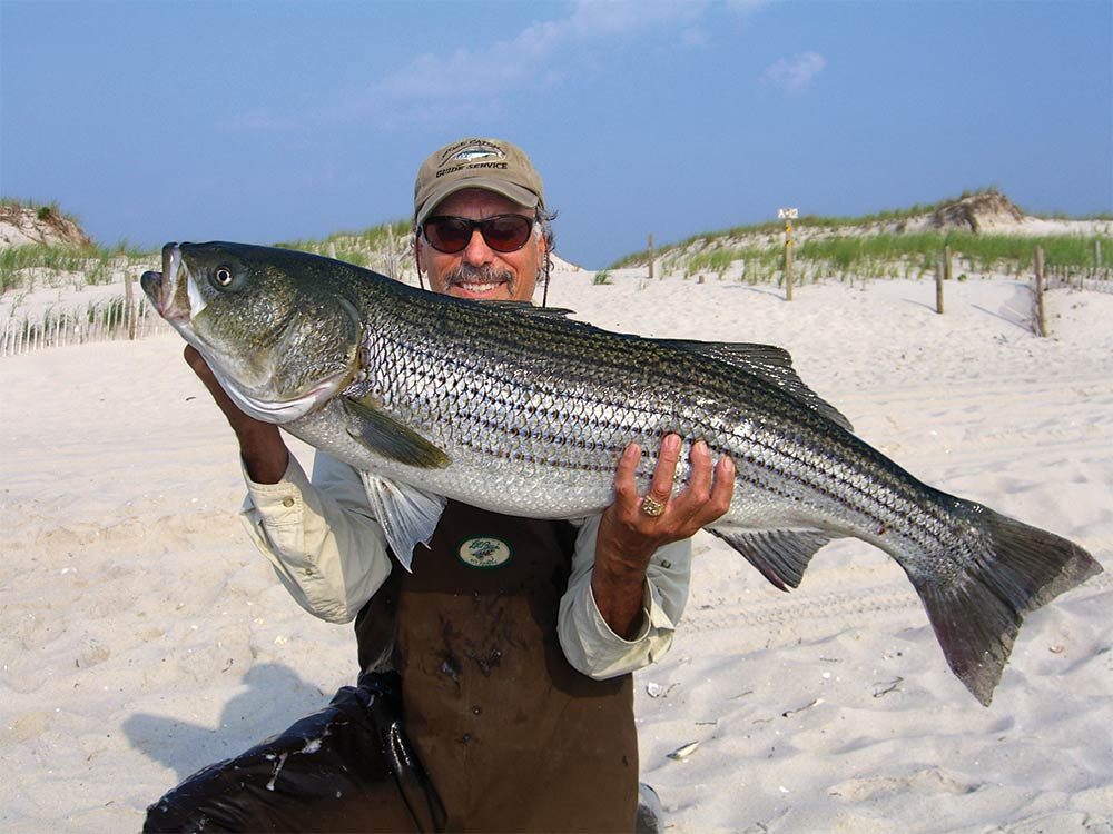 New Jersey surfcasting sharpie Shell E. Caris with a fall-run striper.