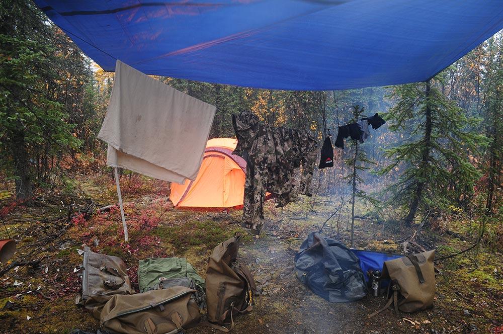 Clothes line above campfire