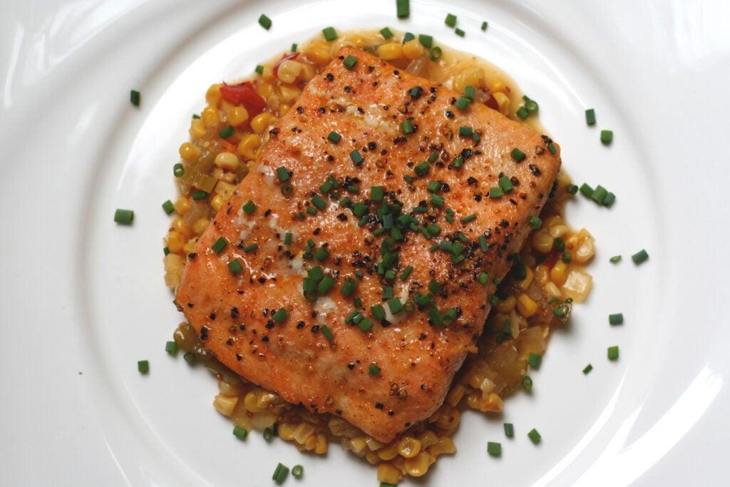 wild cooked salmon corn relish