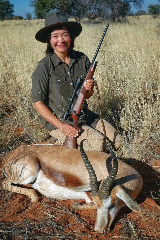 laurel holding antelope hunting afria