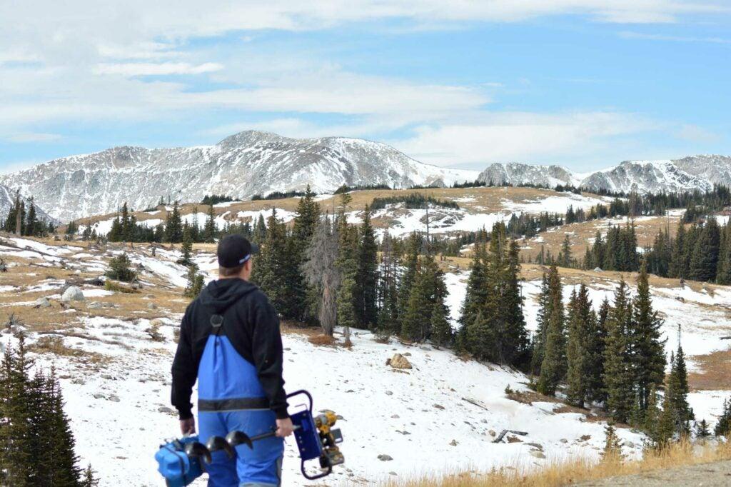ice fishing hike
