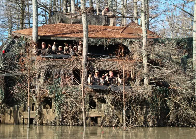 A three-story duck blind.