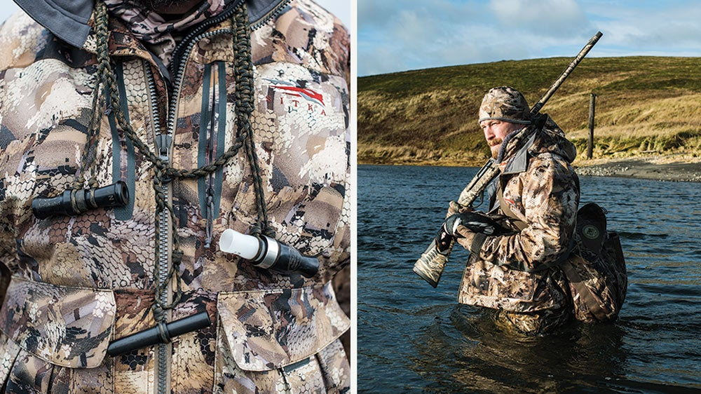 Duck calls and a hunter wading in water