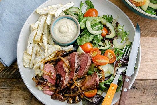 green chef steak and salad recipe