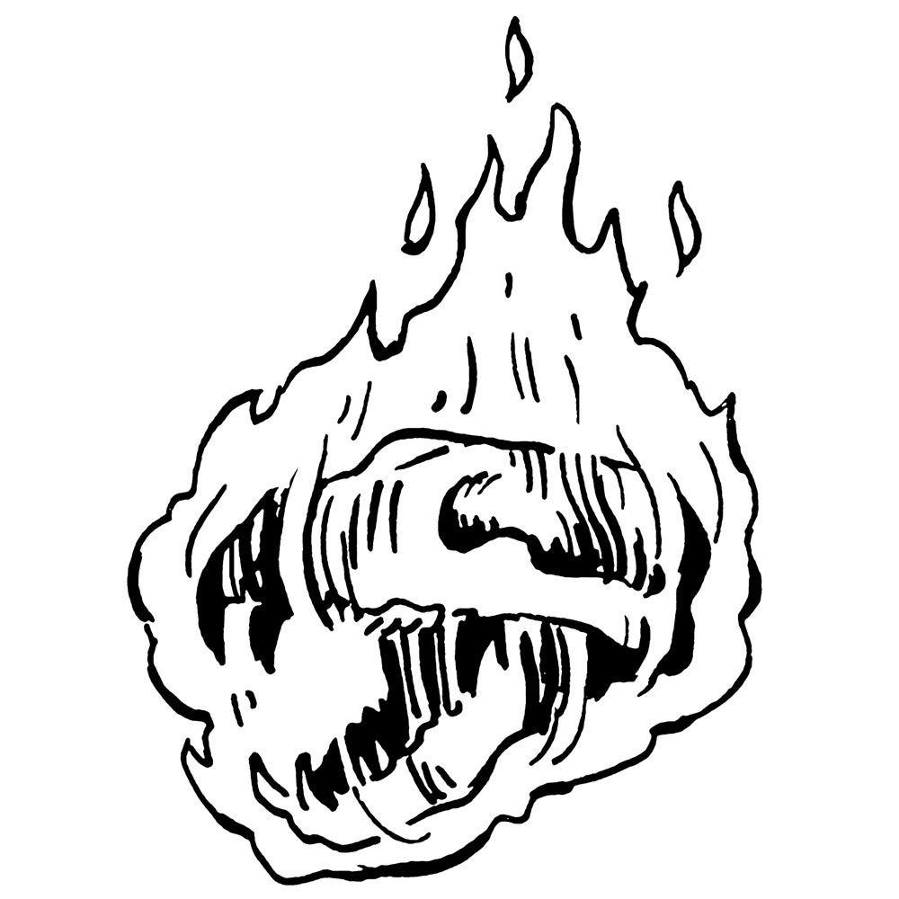 Bear skull on fire