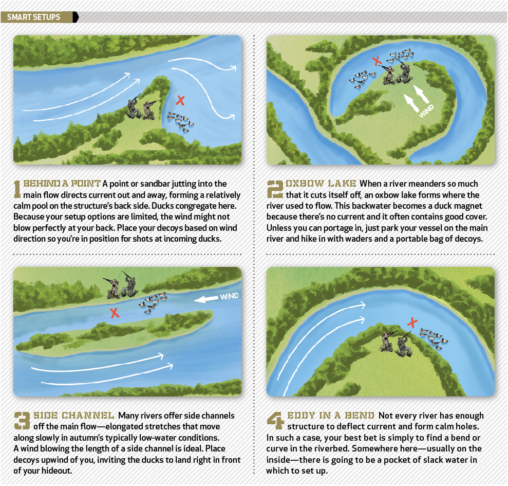Learn where you can find birds while hunting a river.