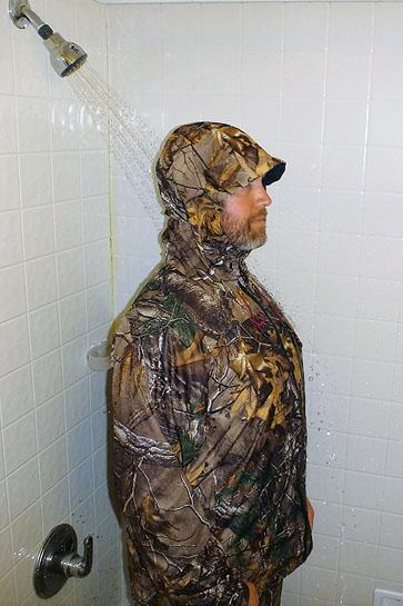rain gear test on shower