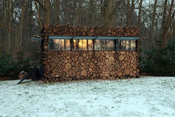 A small cabin that doubles as a blind.