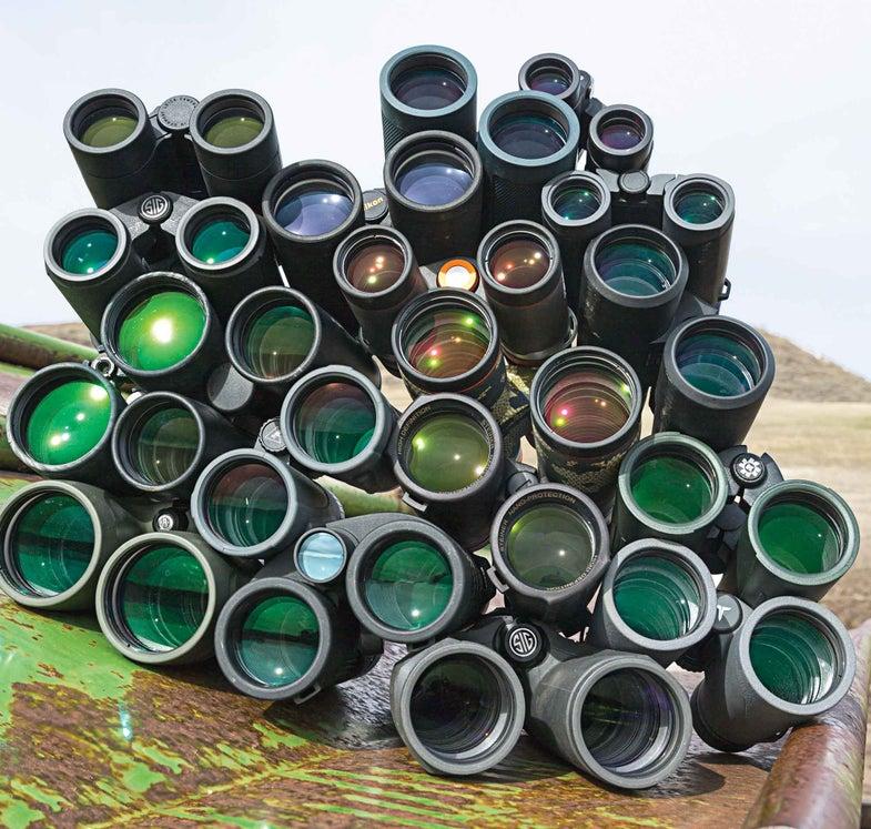 pile of binoculars