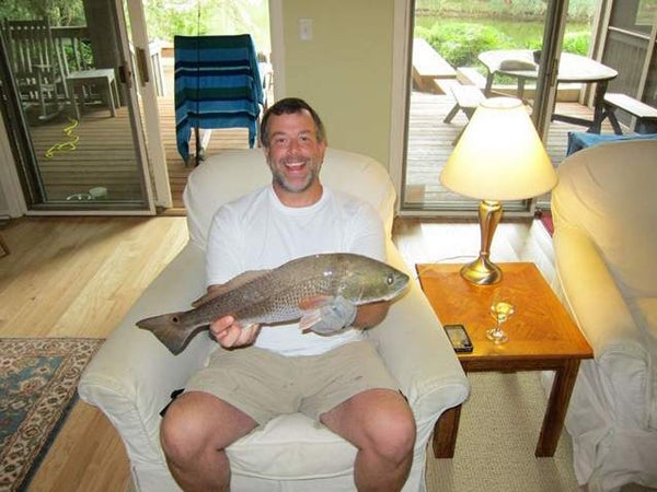 A Lesson in Lazy: Angler Catches Redfish From His Living Room