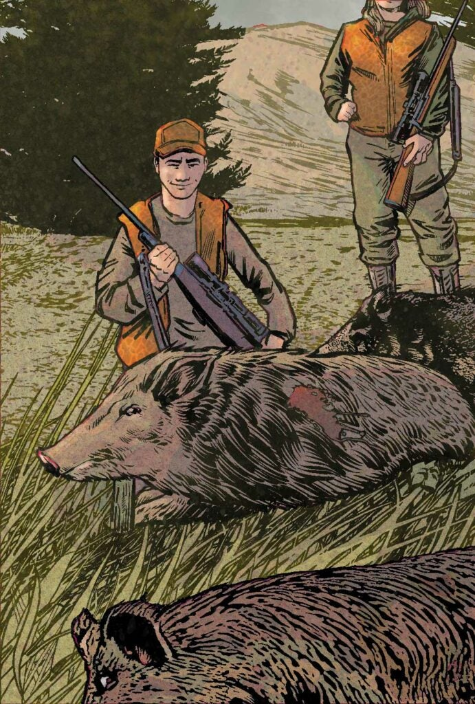 illustration of hunters standing next to three dead hogs