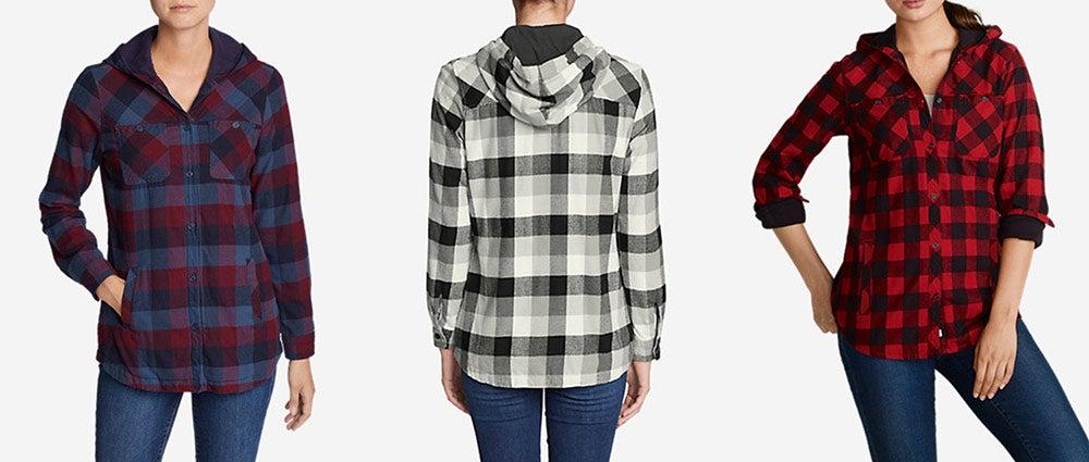 Eddie Bauer Stine's Favorite Flannel Hooded Shirt