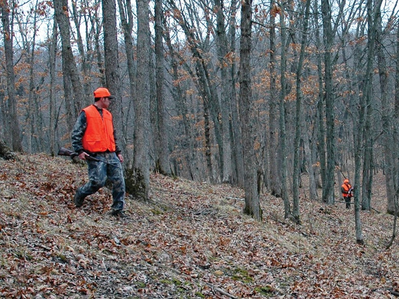 pair of hunters on a timber deer drive